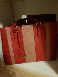 Handtasche rot braun